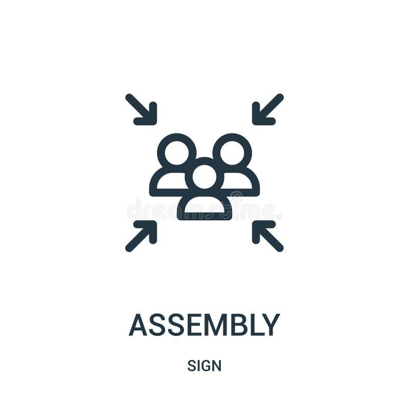 vettore dell'icona dell'assemblea dalla raccolta del segno Sottile illustrazione di vettore dell'icona del profilo della linea illustrazione vettoriale