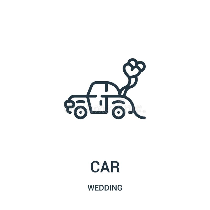 vettore dell'icona dell'automobile dalla raccolta di nozze Linea sottile illustrazione di vettore dell'icona del profilo dell'aut royalty illustrazione gratis