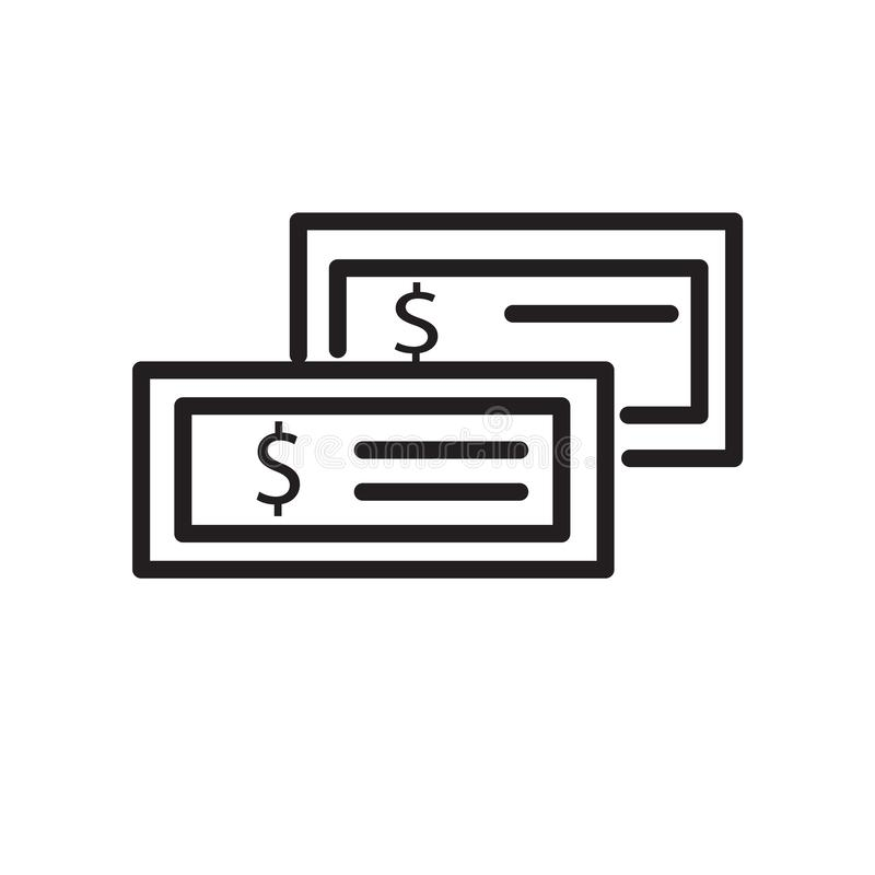 Vettore dell'icona dei soldi isolato su fondo bianco, sul segno dei soldi, sul simbolo lineare e sugli elementi di progettazione  illustrazione vettoriale