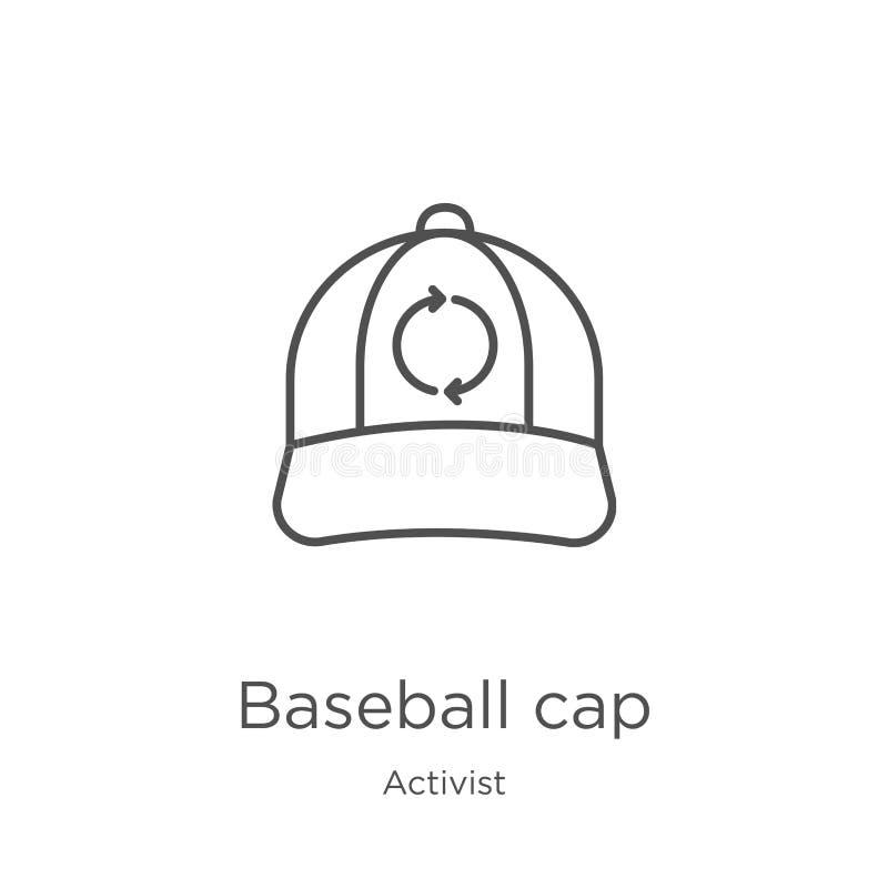 vettore dell'icona del berretto da baseball dalla raccolta dell'attivista Linea sottile illustrazione di vettore dell'icona del p illustrazione di stock
