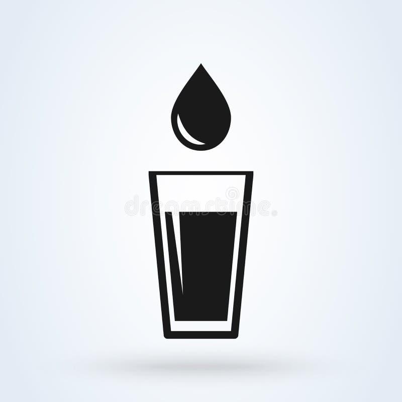 Vettore dell'icona del bicchiere d'acqua Progettazione piana isolata su fondo bianco illustrazione di stock