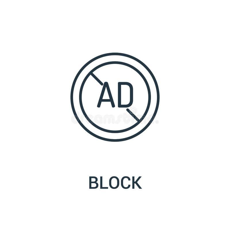 vettore dell'icona del blocco dalla raccolta degli annunci Linea sottile illustrazione di vettore dell'icona del profilo di blocc illustrazione vettoriale