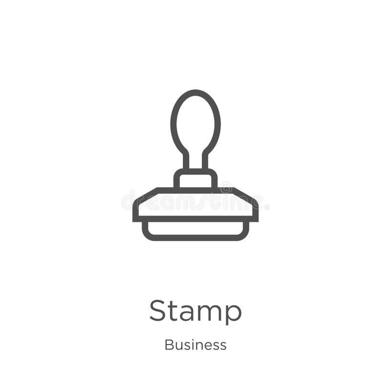 vettore dell'icona del bollo dalla raccolta di affari Linea sottile illustrazione di vettore dell'icona del profilo del bollo Pro illustrazione di stock