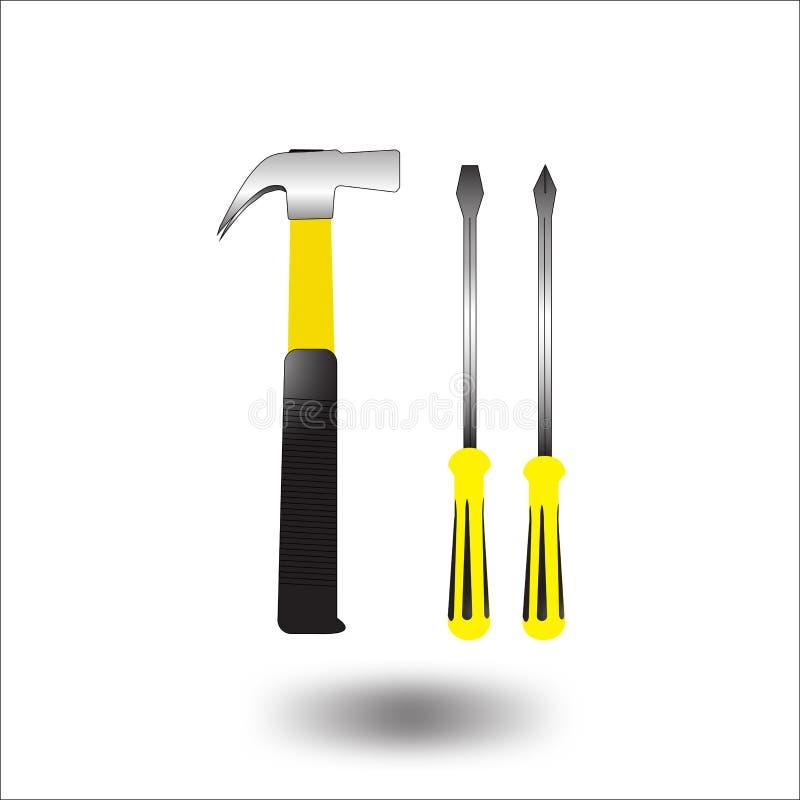Vettore dell'icona del cacciavite e del martello illustrazione di stock