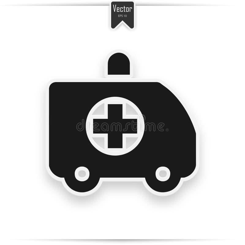 Vettore dell'icona del camion dell'ambulanza, segno piano riempito, pittogramma solido isolato su bianco Simbolo, illustrazione d illustrazione vettoriale