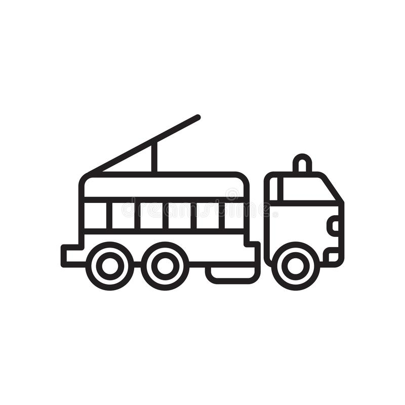 Vettore dell'icona del camion dei vigili del fuoco isolato su fondo, sul segno del camion dei vigili del fuoco, sul segno e sui s illustrazione di stock