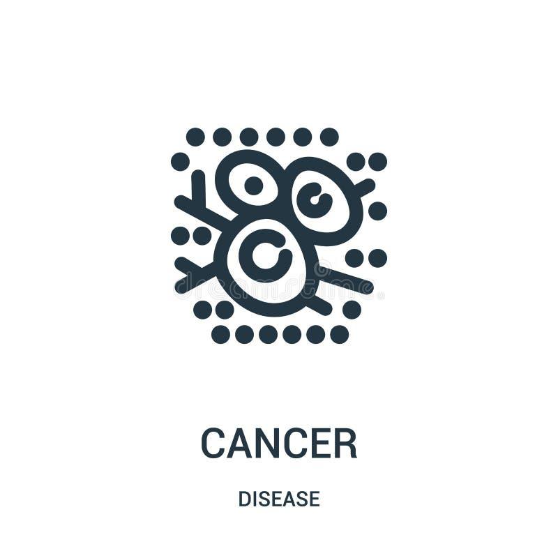 vettore dell'icona del cancro dalla raccolta di malattia Linea sottile illustrazione di vettore dell'icona del profilo del cancro illustrazione di stock