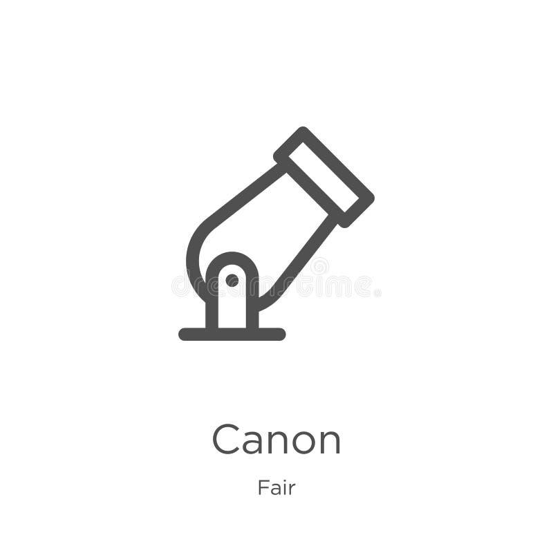 vettore dell'icona del canone dalla raccolta giusta Linea sottile illustrazione di vettore dell'icona del profilo del canone Prof illustrazione vettoriale