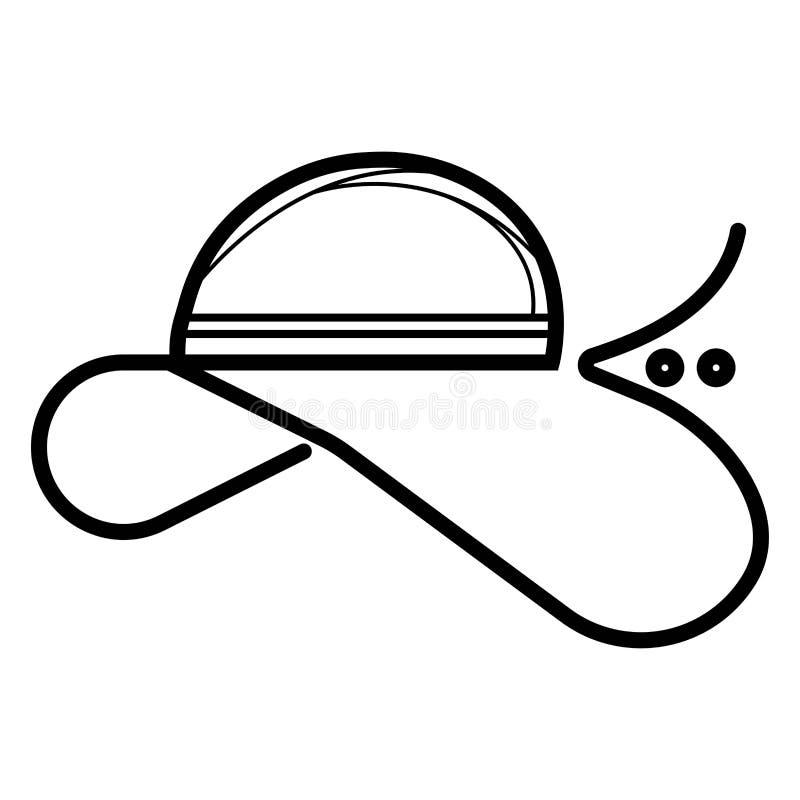 Vettore dell'icona del cappello della donna illustrazione di stock