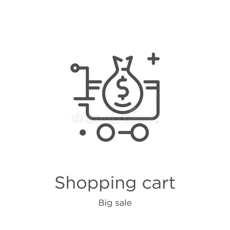 vettore dell'icona del carrello dalla grande raccolta di vendita Linea sottile illustrazione di vettore dell'icona del profilo de illustrazione di stock