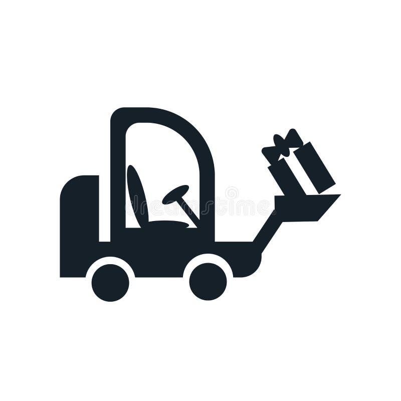 Vettore dell'icona del carrello elevatore isolato su fondo bianco, segno del carrello elevatore illustrazione di stock