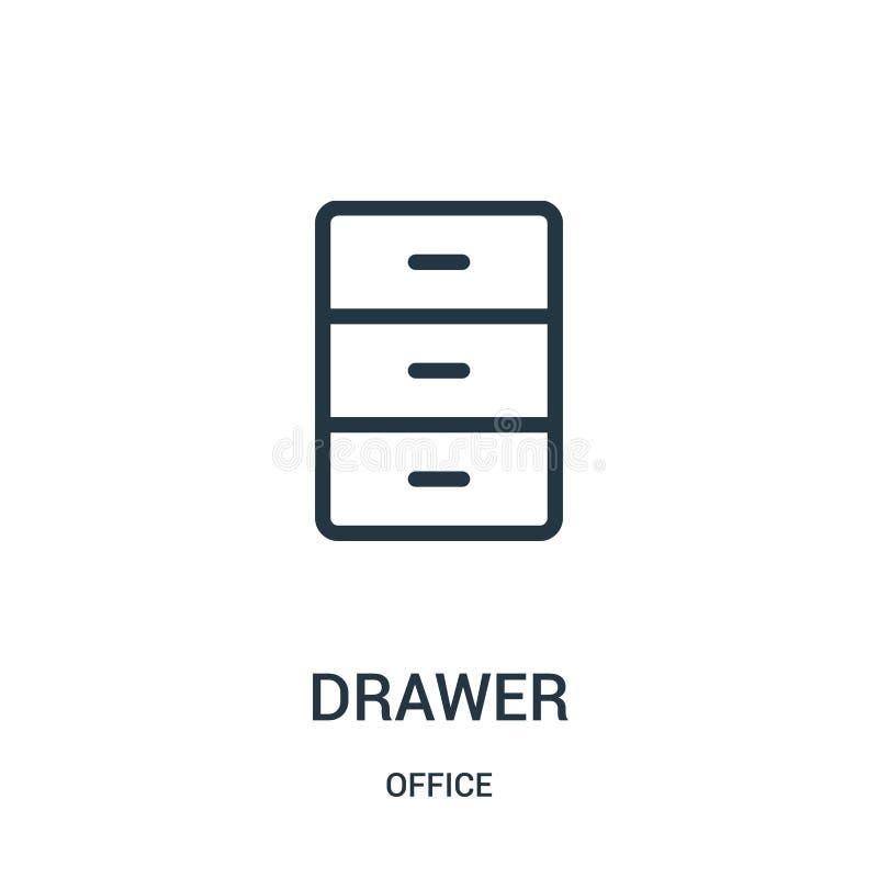 vettore dell'icona del cassetto dalla raccolta dell'ufficio r illustrazione vettoriale