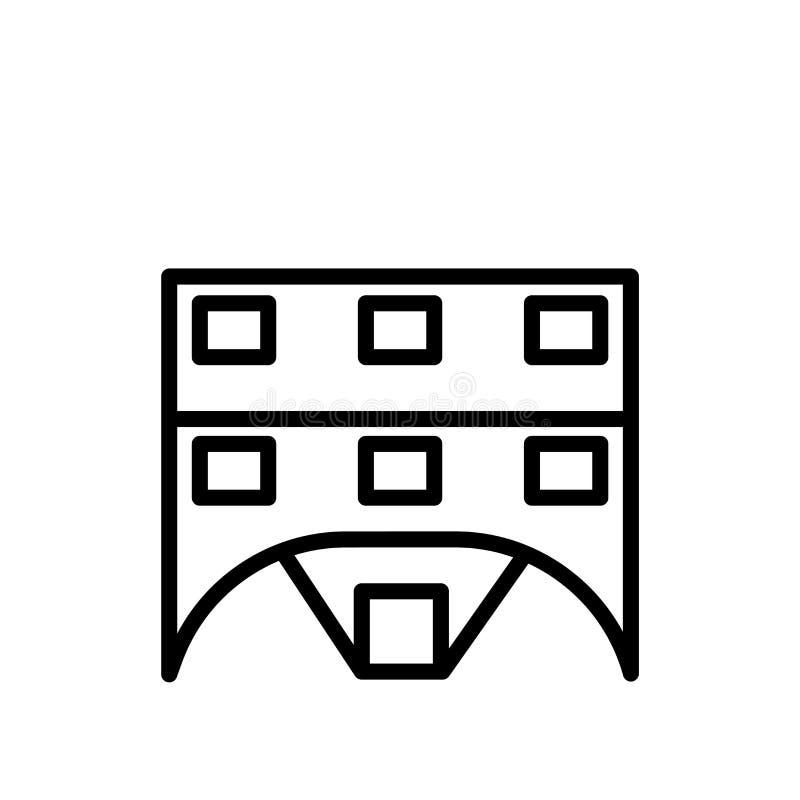 Vettore dell'icona del chalet isolato su fondo bianco, sul segno del chalet, sulla linea o sul segno lineare, progettazione dell' royalty illustrazione gratis