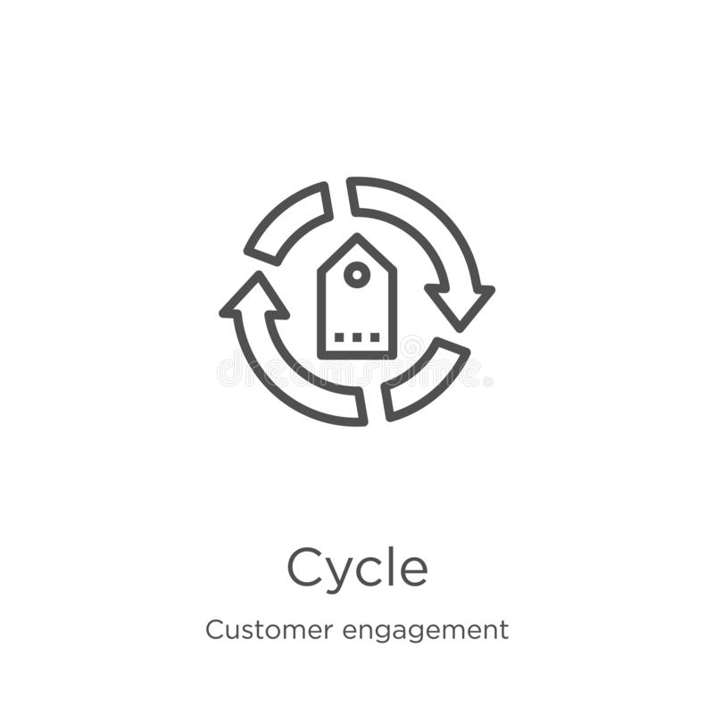 vettore dell'icona del ciclo dalla raccolta di impegno del cliente Linea sottile illustrazione di vettore dell'icona del profilo  royalty illustrazione gratis