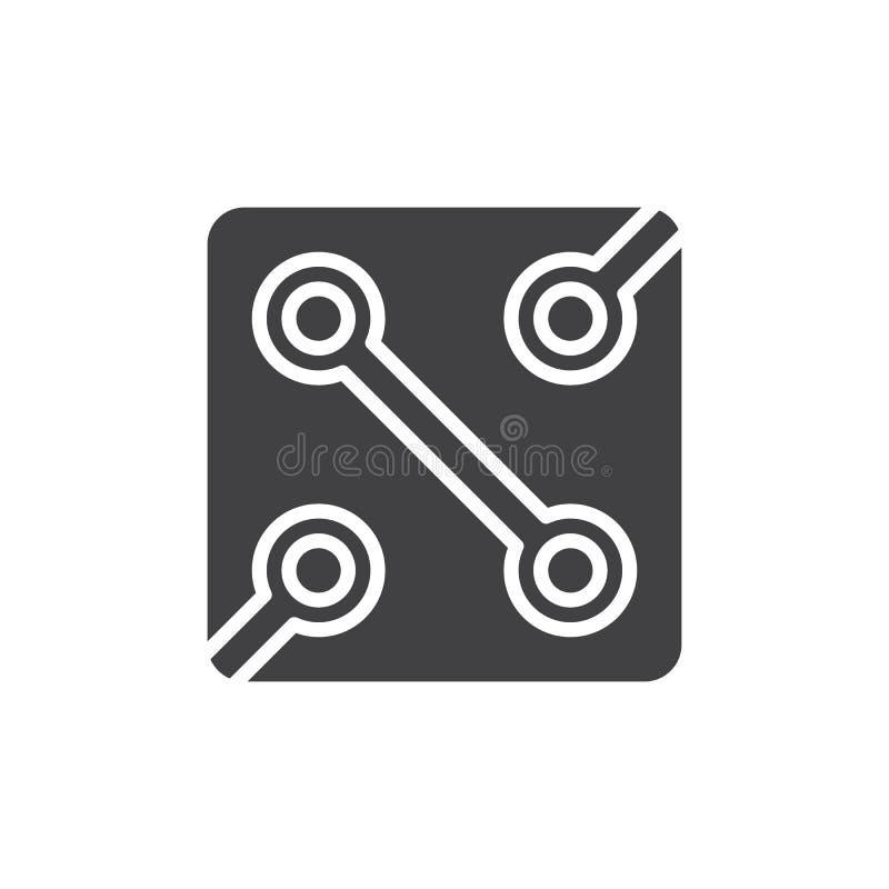Vettore dell'icona del circuito di elettronica, segno piano riempito, pittogramma solido isolato su bianco illustrazione vettoriale