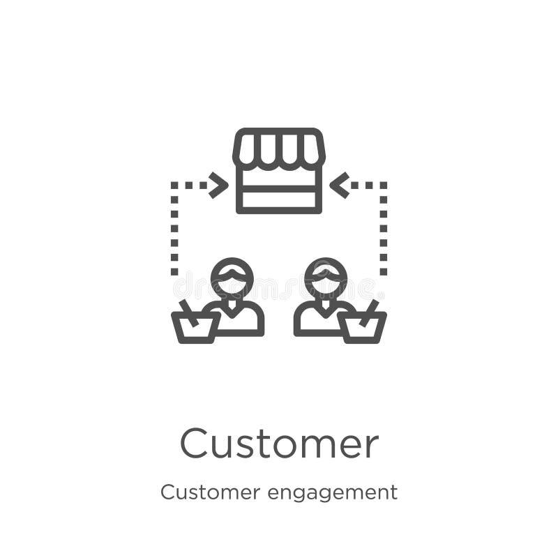 vettore dell'icona del cliente dalla raccolta di impegno del cliente Linea sottile illustrazione di vettore dell'icona del profil illustrazione vettoriale
