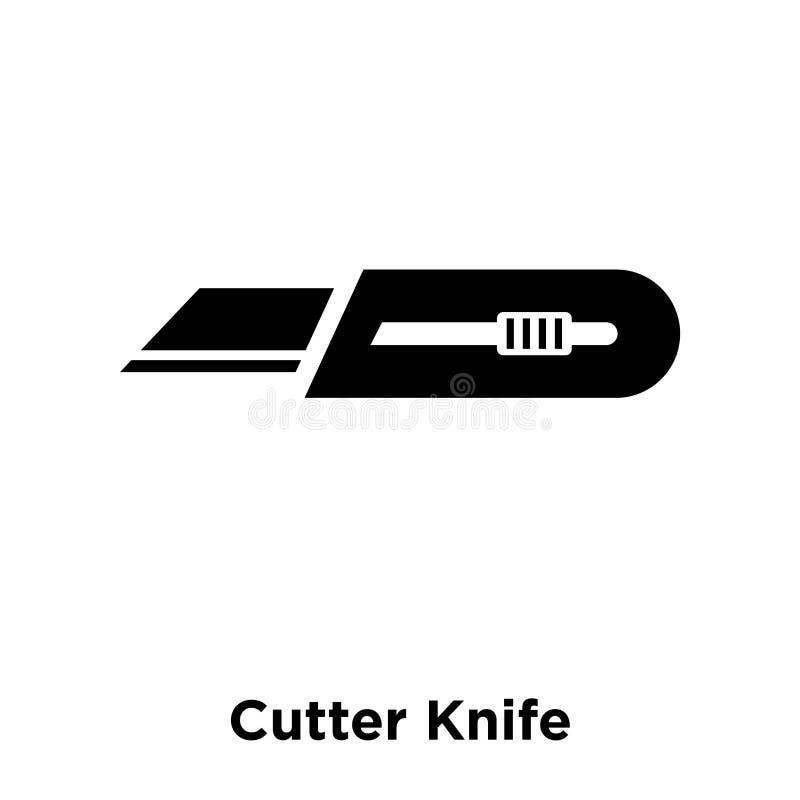 Vettore dell'icona del coltello della taglierina isolato su fondo bianco, logo concentrato illustrazione vettoriale