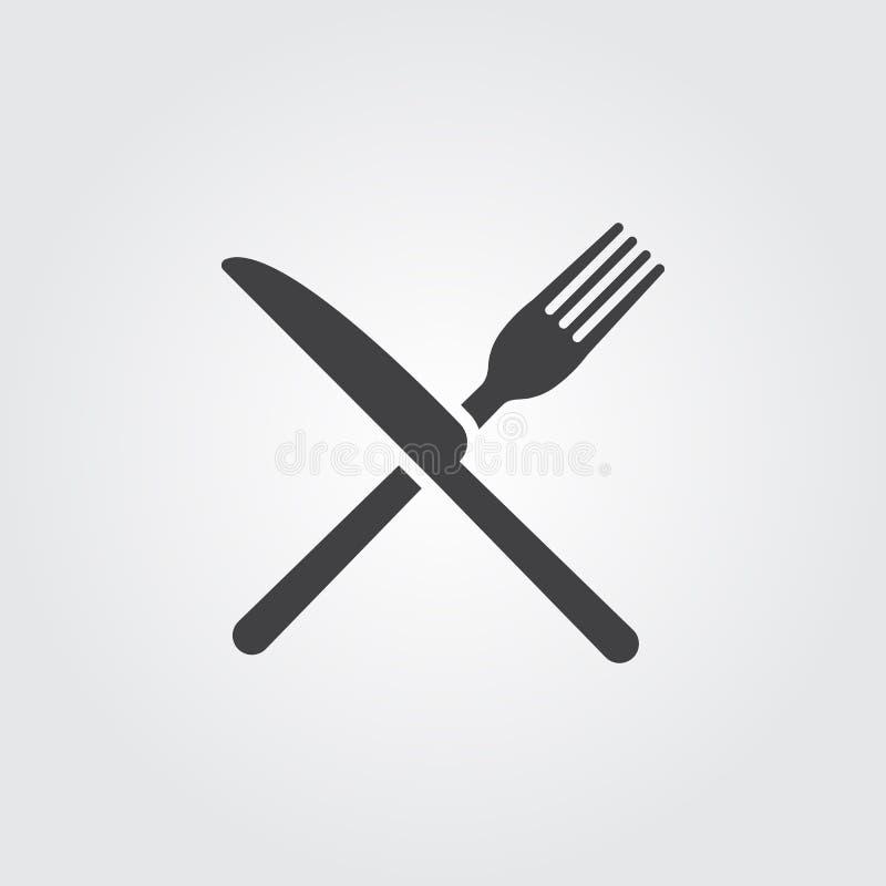 Vettore dell'icona del coltello e della forcella isolato su fondo grigio illustrazione di stock