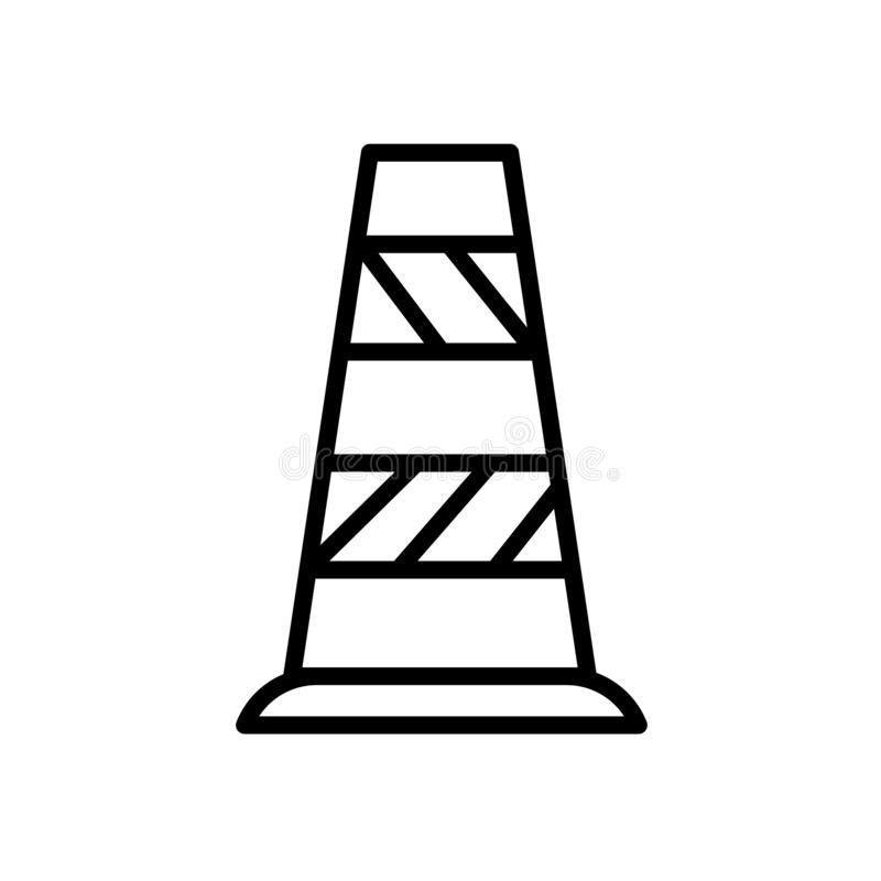 Vettore dell'icona del cono di traffico isolato sul segno bianco del cono di traffico, del fondo, sul simbolo lineare e sugli ele royalty illustrazione gratis