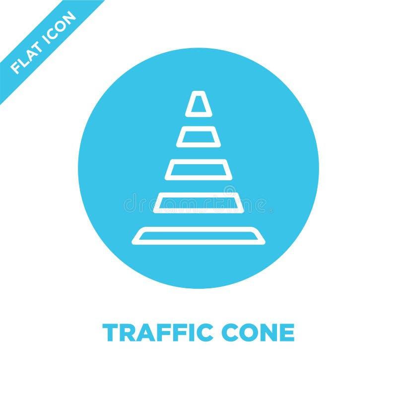 Vettore dell'icona del cono di traffico Linea sottile illustrazione di vettore dell'icona del profilo del cono di traffico simbol illustrazione di stock
