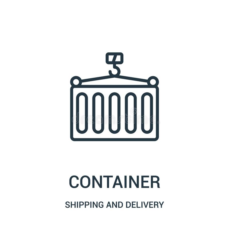 vettore dell'icona del contenitore dalla raccolta di consegna e di trasporto Linea sottile illustrazione di vettore dell'icona de illustrazione di stock