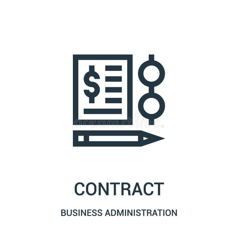 vettore dell'icona del contratto dalla raccolta di amministrazione aziendale Linea sottile illustrazione di vettore dell'icona de illustrazione vettoriale