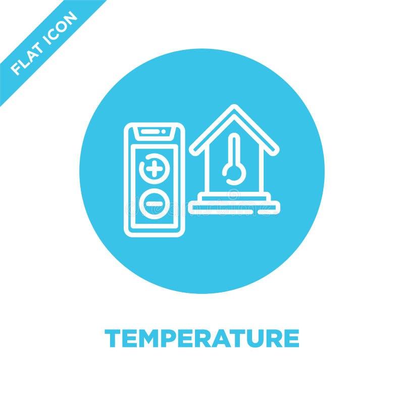 vettore dell'icona del controllo della temperatura dalla raccolta domestica astuta Linea sottile illustrazione di vettore dell'ic illustrazione di stock