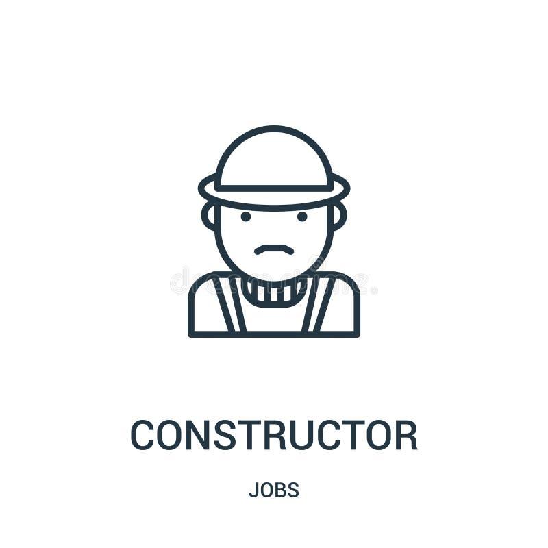 vettore dell'icona del costruttore dalla raccolta di lavori Linea sottile illustrazione di vettore dell'icona del profilo del cos royalty illustrazione gratis