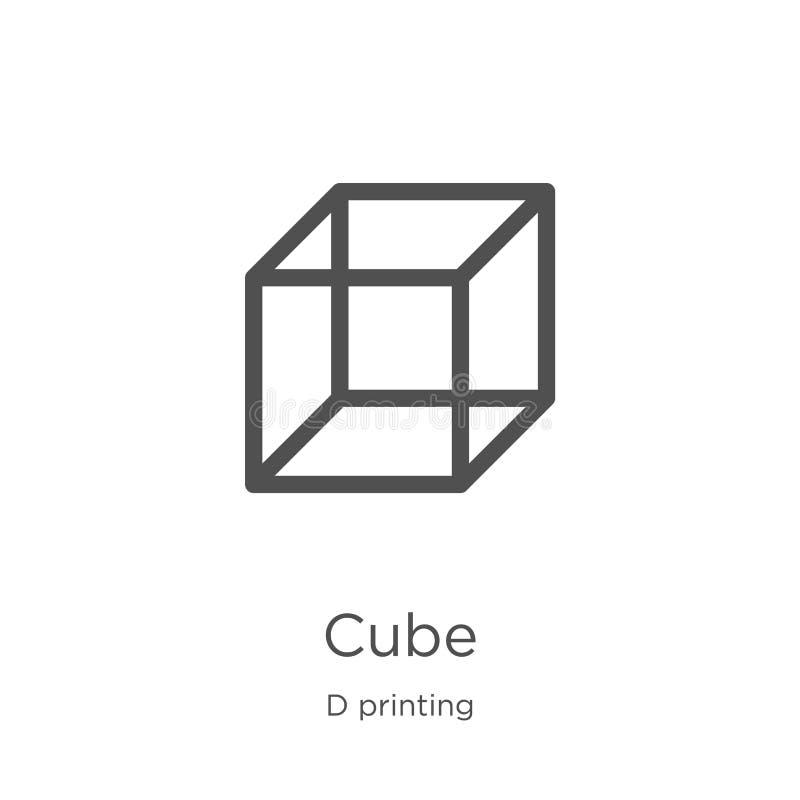vettore dell'icona del cubo dalla raccolta di stampa di d Linea sottile illustrazione di vettore dell'icona del profilo del cubo  royalty illustrazione gratis