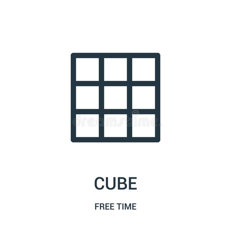 vettore dell'icona del cubo dalla raccolta di tempo libero Linea sottile illustrazione di vettore dell'icona del profilo del cubo illustrazione di stock