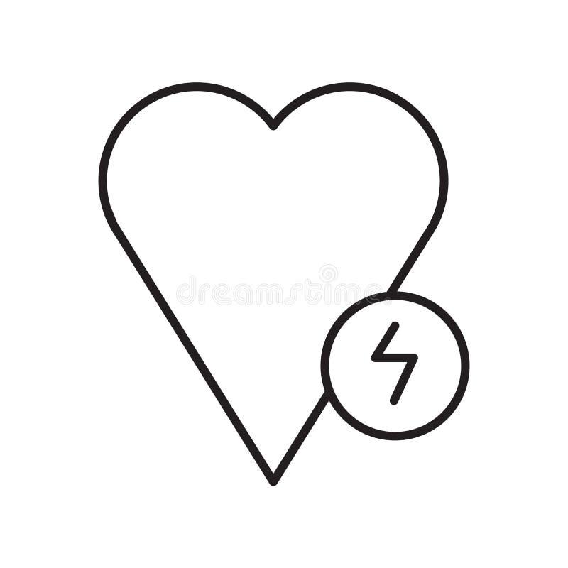 Vettore dell'icona del defibrillatore isolato su fondo, sul segno del defibrillatore, sul segno e sui simboli bianchi nello stile illustrazione vettoriale