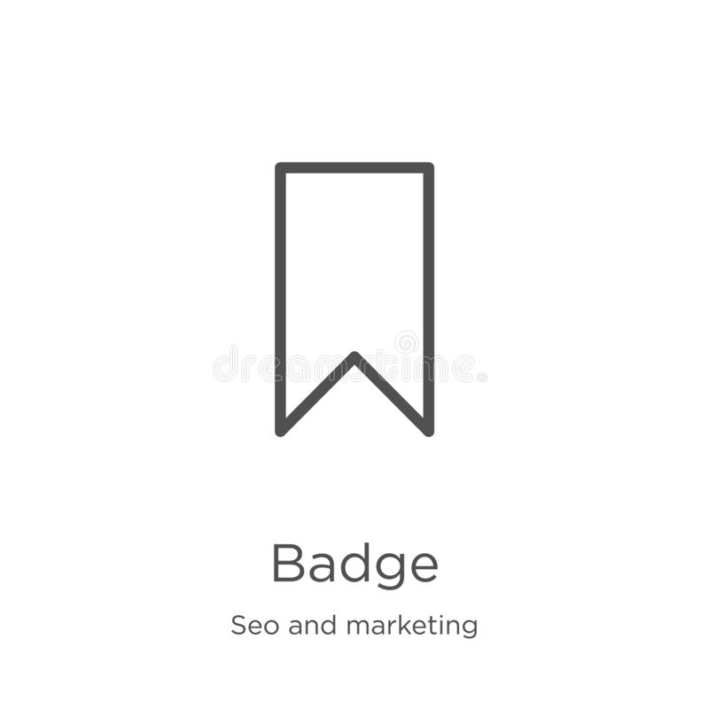vettore dell'icona del distintivo dalla raccolta di vendita e di seo Linea sottile illustrazione di vettore dell'icona del profil illustrazione di stock
