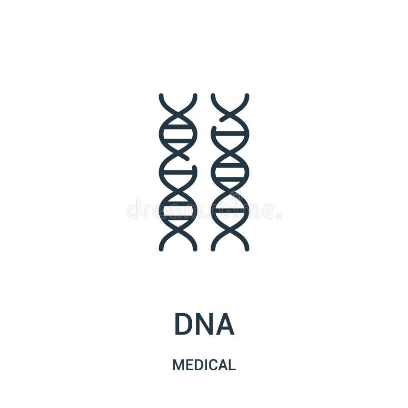 vettore dell'icona del DNA dalla raccolta medica Linea sottile illustrazione di vettore dell'icona del profilo del DNA illustrazione di stock