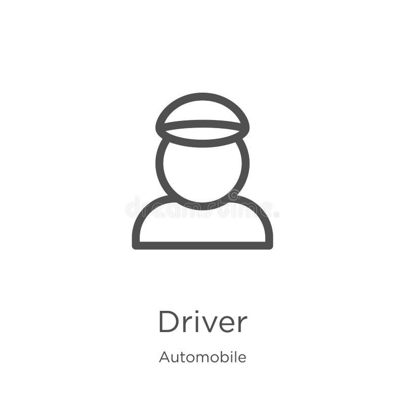 vettore dell'icona del driver dalla raccolta dell'automobile Linea sottile illustrazione di vettore dell'icona del profilo del dr royalty illustrazione gratis