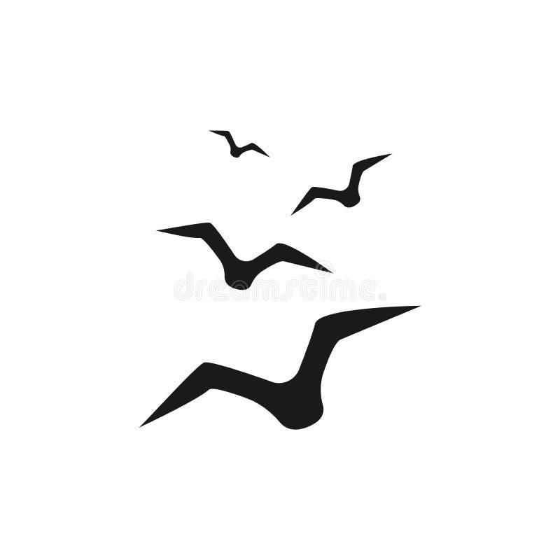 Vettore dell'icona del gabbiano Icona del corvo dell'uccello Illustrazione semplice illustrazione di stock