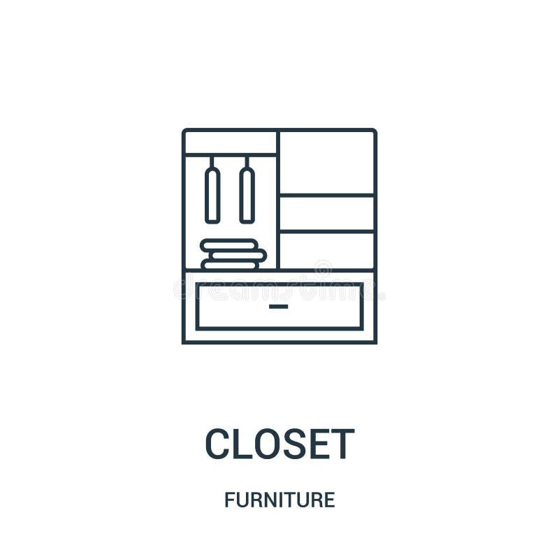 vettore dell'icona del gabinetto dalla raccolta della mobilia Linea sottile illustrazione di vettore dell'icona del profilo del g illustrazione vettoriale