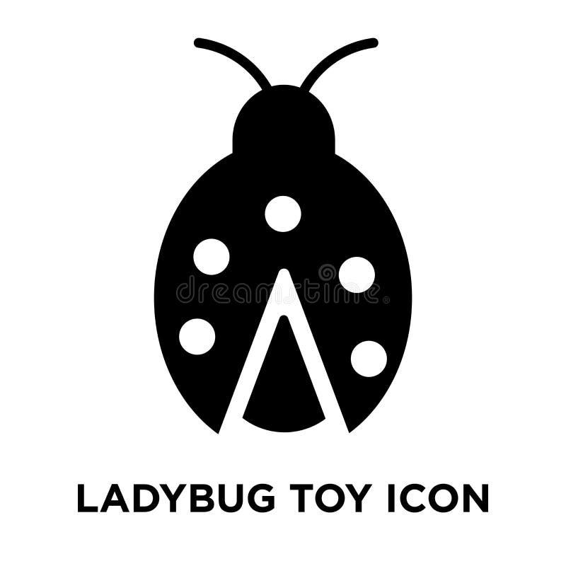 Vettore dell'icona del giocattolo della coccinella isolato su fondo bianco, conce di logo illustrazione di stock