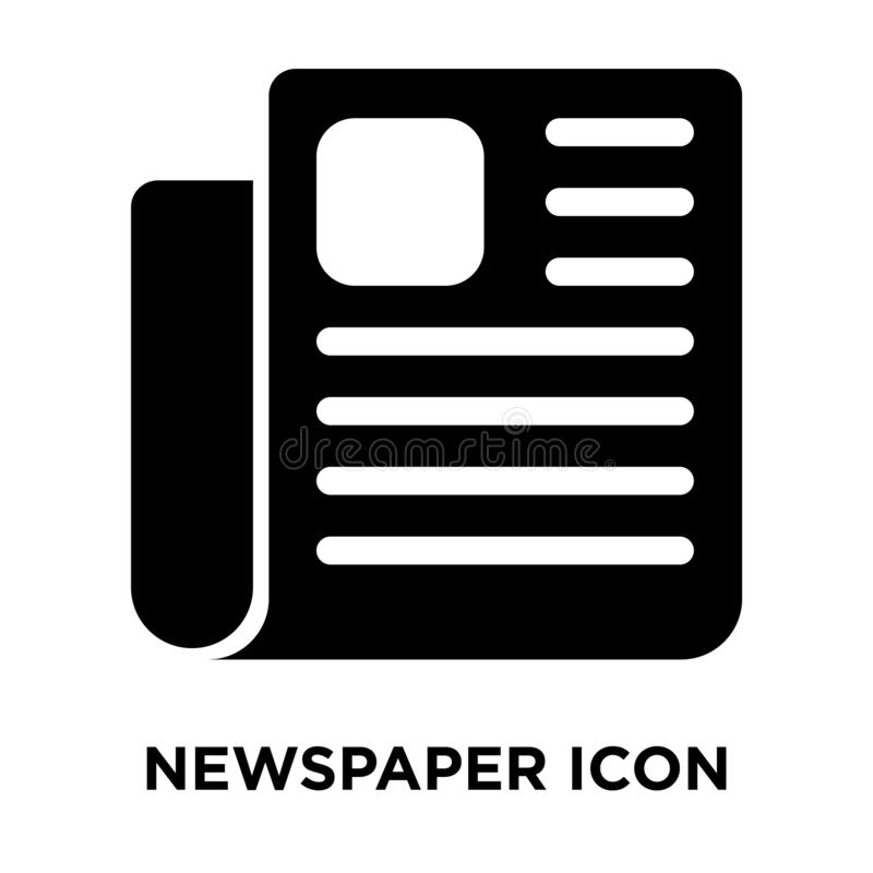 Vettore dell'icona del giornale isolato su fondo bianco, concetto di logo illustrazione vettoriale