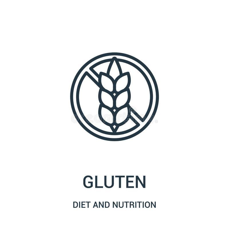 vettore dell'icona del glutine dalla raccolta di nutrizione e di dieta Linea sottile illustrazione di vettore dell'icona del prof illustrazione di stock