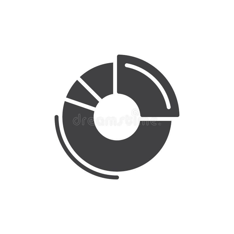 Vettore dell'icona del grafico della ciambella, segno piano riempito, pittogramma solido isolato su bianco Simbolo, illustrazione royalty illustrazione gratis