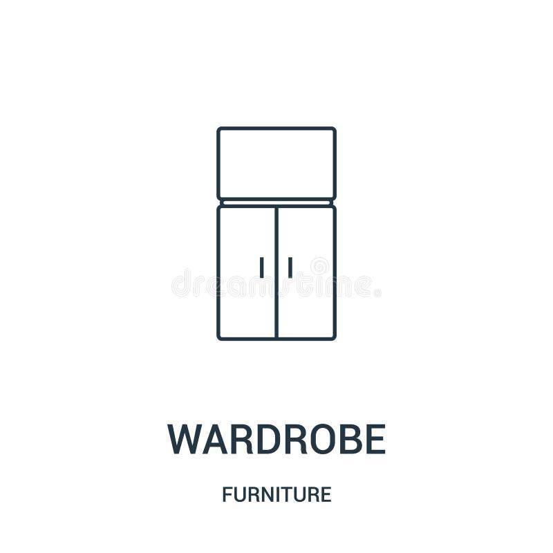 vettore dell'icona del guardaroba dalla raccolta della mobilia Linea sottile illustrazione di vettore dell'icona del profilo del  illustrazione di stock