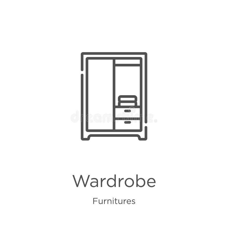 vettore dell'icona del guardaroba dalla raccolta delle mobilie Linea sottile illustrazione di vettore dell'icona del profilo del  royalty illustrazione gratis