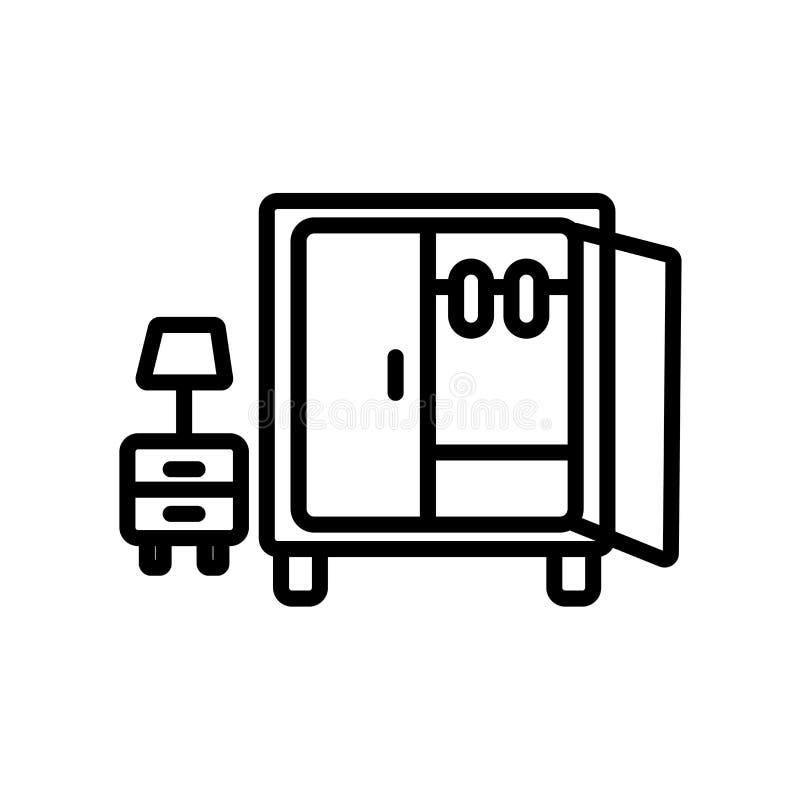 Vettore dell'icona del guardaroba isolato su fondo bianco, segno del guardaroba illustrazione vettoriale