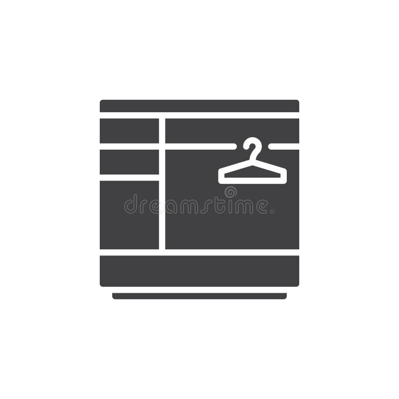 Vettore dell'icona del guardaroba, segno piano riempito, pittogramma solido isolato su bianco illustrazione di stock