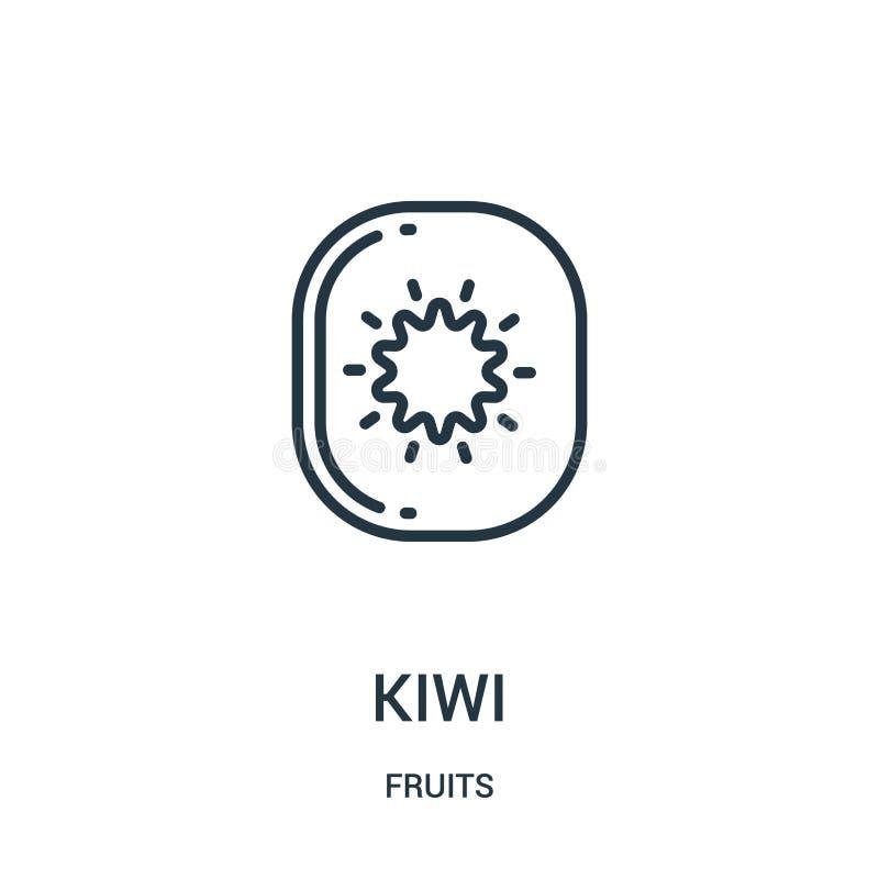 vettore dell'icona del kiwi dalla raccolta di frutti Linea sottile illustrazione di vettore dell'icona del profilo del kiwi Simbo illustrazione vettoriale