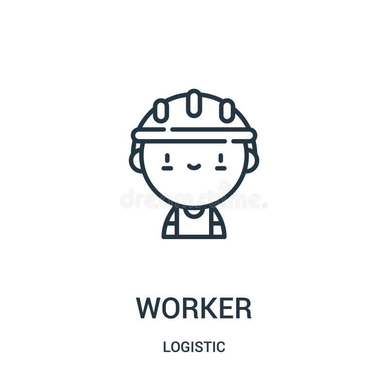 vettore dell'icona del lavoratore dalla raccolta logistica Linea sottile illustrazione di vettore dell'icona del profilo del lavo illustrazione vettoriale