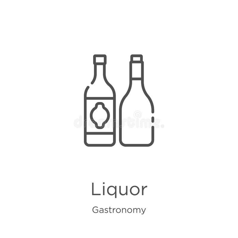 vettore dell'icona del liquore dalla raccolta della gastronomie Linea sottile illustrazione di vettore dell'icona del profilo del illustrazione di stock