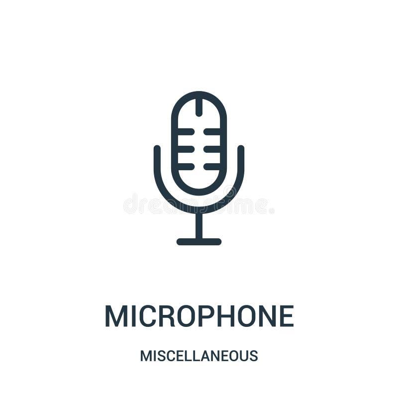 vettore dell'icona del microfono dalla raccolta varia Linea sottile illustrazione di vettore dell'icona del profilo del microfono illustrazione di stock