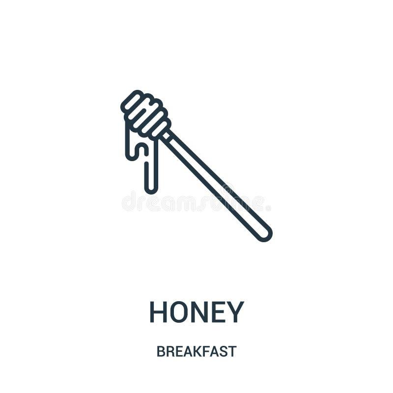 vettore dell'icona del miele dalla raccolta della prima colazione Linea sottile illustrazione di vettore dell'icona del profilo d illustrazione vettoriale
