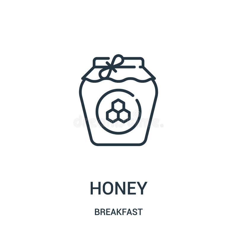vettore dell'icona del miele dalla raccolta della prima colazione Linea sottile illustrazione di vettore dell'icona del profilo d royalty illustrazione gratis